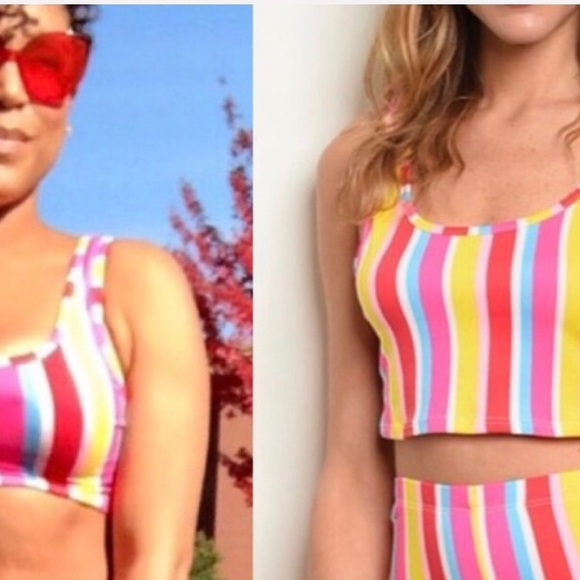 Multicolor pink & yellow striped tank crop top NEW